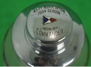 Frosted Glass w/ Sterling Plaid c1934 Signal Flag Cap Cocktail Shaker