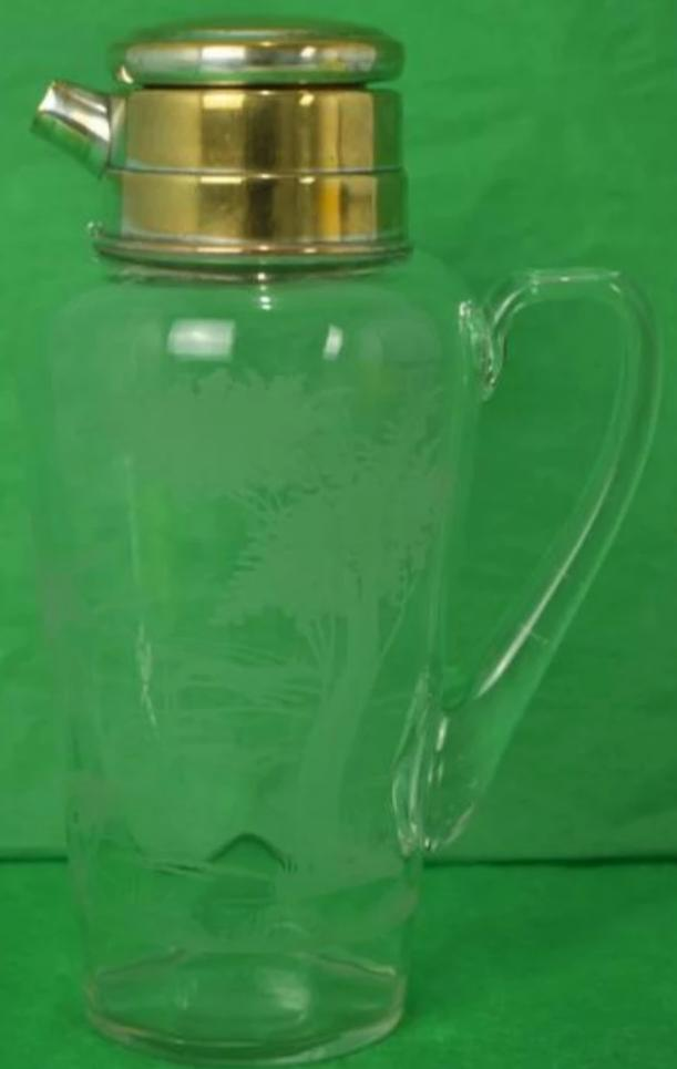 Abercrombie & Fitch Hawkes Etched Glass Foxhunt Cocktail Pitcher
