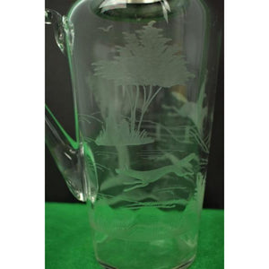 Abercrombie & Fitch Hawkes Etched Glass Fox-Hunt Cocktail Pitcher