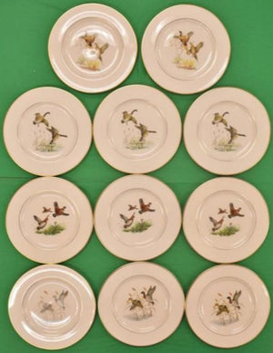 Set of 11 Pickard China for Abercrombie & Fitch Gamebird Salad Plates