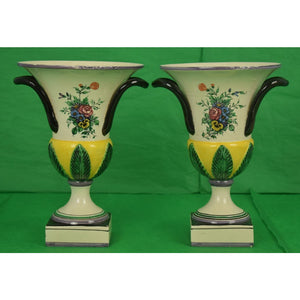 Lovely Pair of Italian Majolica Floral Urns
