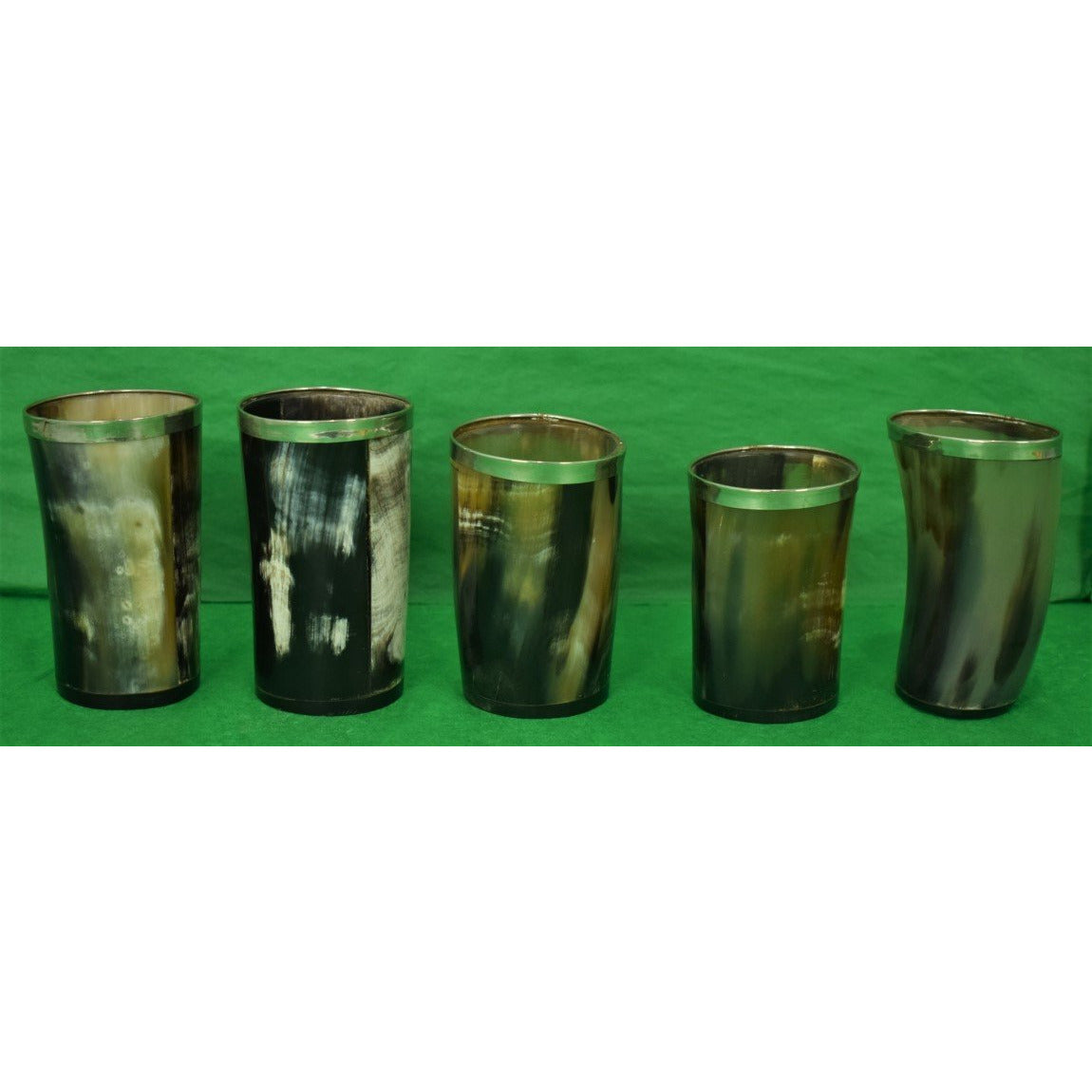 Set of 5 Cow Horn Sterling Rim Beakers