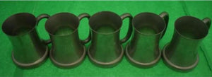 Set of 5 Abercrombie & Fitch English Pewter Tankards c.1937 w/ Crystal Bottoms Engraved W.A.R.
