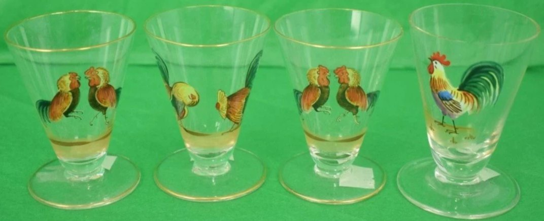Set of 4 Rooster/Cock Hand-Painted Sherry Glasses
