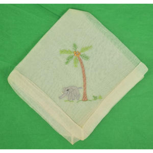 'Elephant Under Palm Tree Linen Pocket Sq'