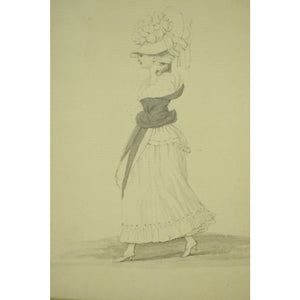 Paul Sandby, R.A. Study of a Fashionable Lady Walking Ink & Wash on Paper from the Braga Oakendale, Va Estate