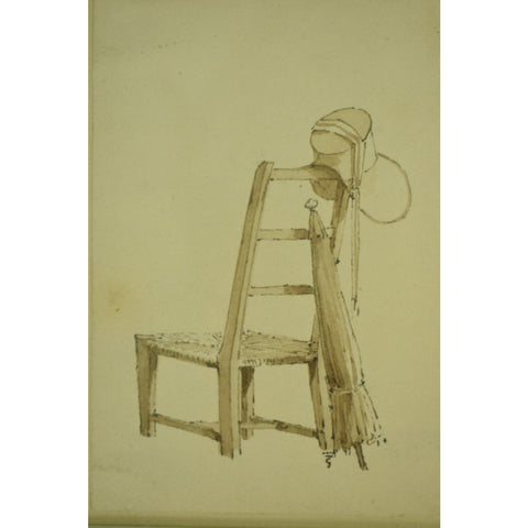 Paull Sandby, R.A. Ink & Wash on Paper of a Chair/ Umbrella & Cap from the Braga, Oakendale. Va Estate