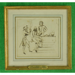 William Locke (1767-1847) Brown Ink on Paper of General D'Arblay & Friends