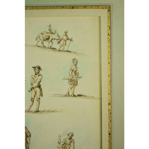 Attributed to William Henry Pyne (1769-1843) Figure Studies Ink and Watercolour on Paper