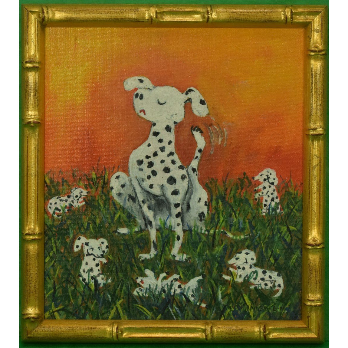 Dalmatians Oil on Canvas in Gilt Bamboo Frame