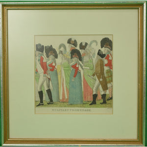 Military Promenade c1795 Colour Litho