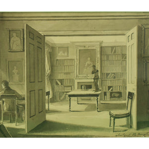 Apartment 33 Mount St Library Interior Pen & Ink c1805 by Michael Jones