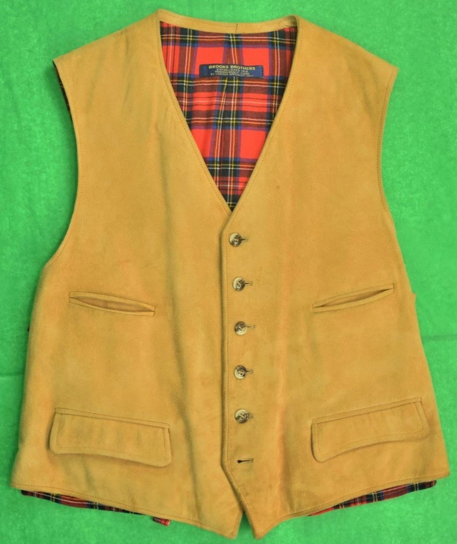 Brooks Brothers Suede Vest w/ Royal Stewart Lining & Back Panel Sz: 46R
