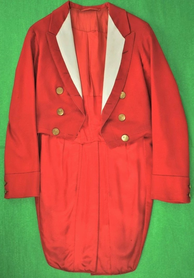 Hunting 'Pink' Morning Coat w/ (10) Foxhead Pitt & Co Buttons Sz: Lg