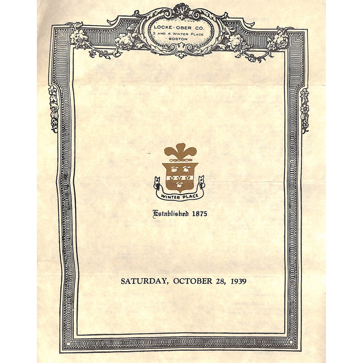 Locke-Ober Co. Menu: Oct. 28, 1939