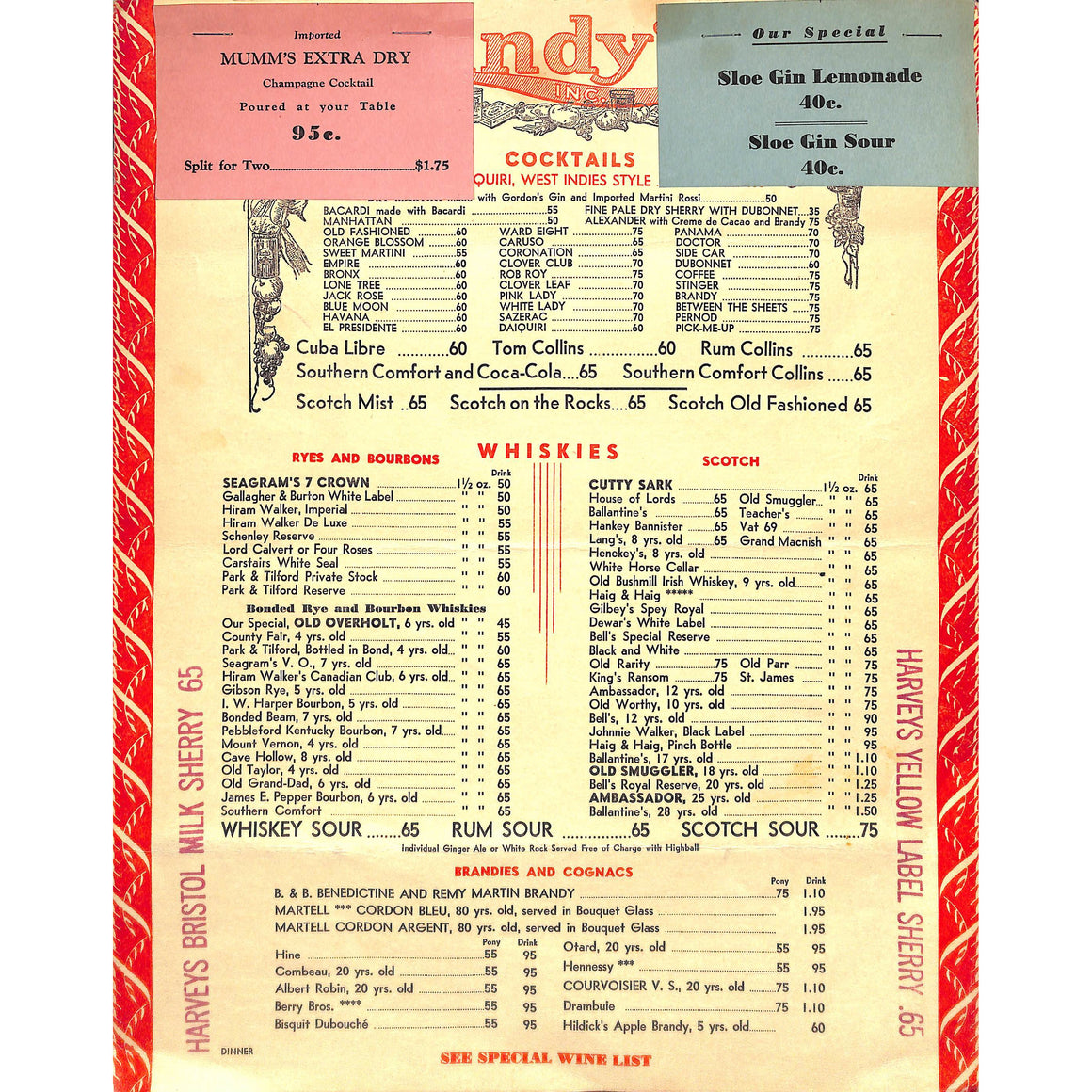 Lindy's 1951 Menu