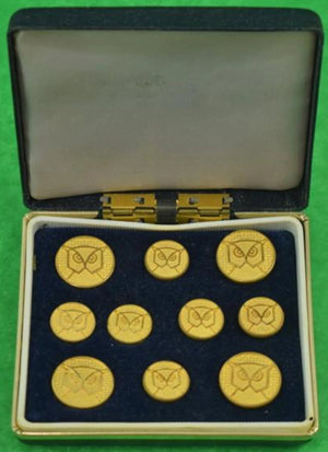 'Owl's Head London Badge Brass Button Boxed Set'