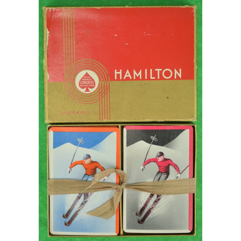 Twin Boxed Set of Skier Playing Cards