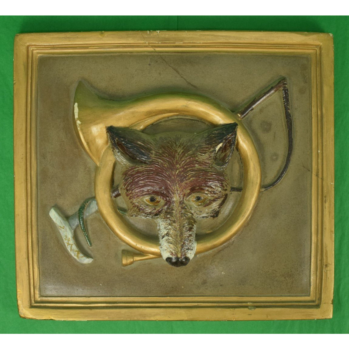 FoxHead/ Hunting Horn & Crop Ceramic Relief