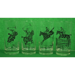 Set of 4 Paul Desmond Brown Polo/Equestrian Highball Glasses