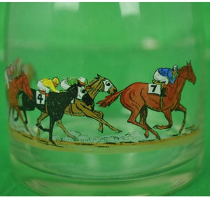Glass Decanter w/ 6 Hand-Painted Race Horses & Jockeys Signed R Kuntz