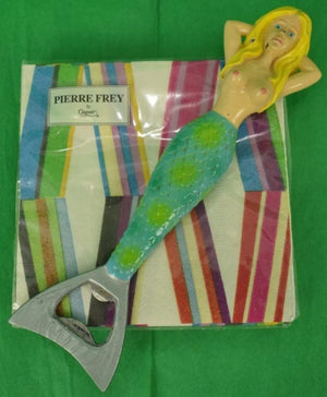 Pierre Frey by Caspari Set of 20 Cocktail Napkins w/ Mermaid Bottle Opener