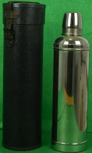 Silverplate Thermos Bottle w/ Cork Stopper in Leather Cannister