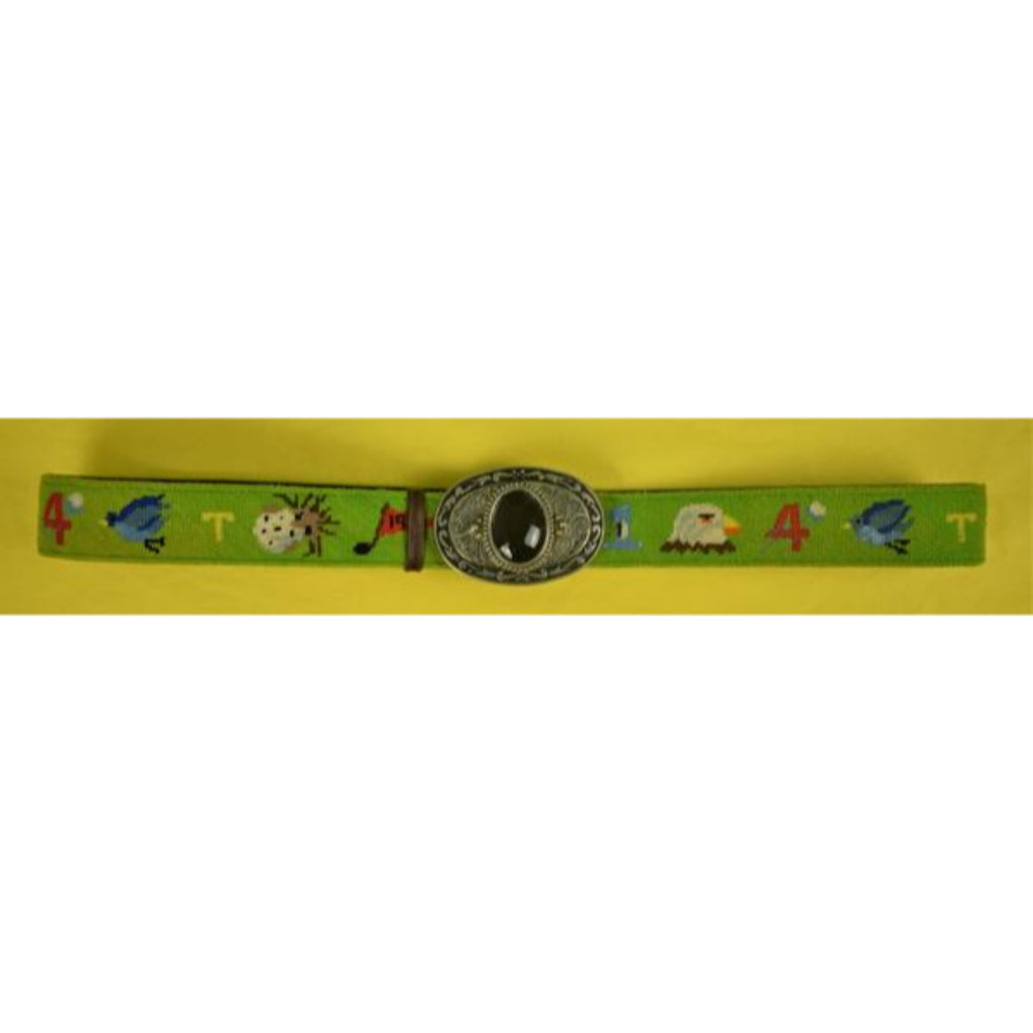 'Custom '19th' Hole Green Needlepoint Belt w/ Western Buckle'