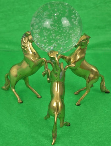 Three Brass Rearing Horses w/ Crystal Globe