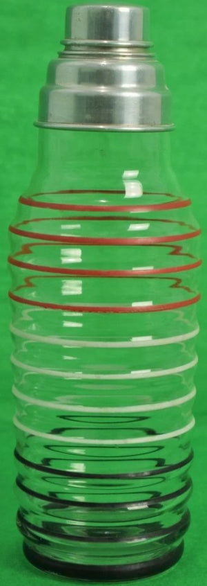 Art Deco Glass Martini Shaker w/ Multi-Stripe Rim & Chrome Lid