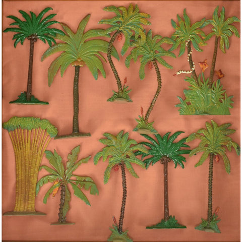Set of (10) Hand-Painted Palm Trees