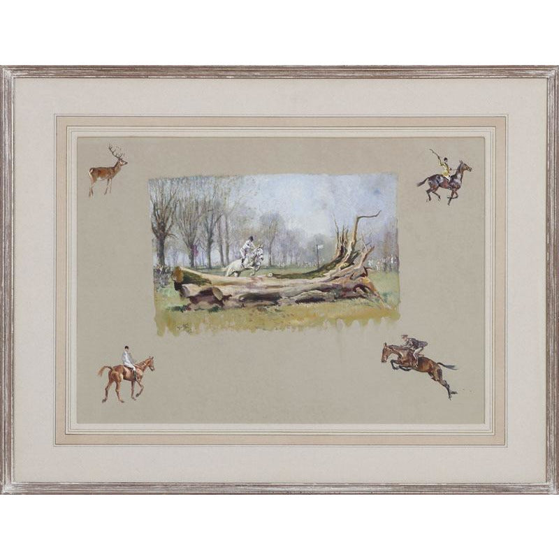 Michael Lyne 'The Fallen Tree' Timber Jumping Watercolour c1953
