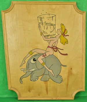 Hand-Painted Naked Lady Astride Cocktail Elephant on Oak Plaque