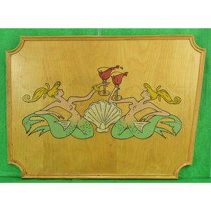 Pair of Hand-Painted Toasting Mermaids on Oak Plaque