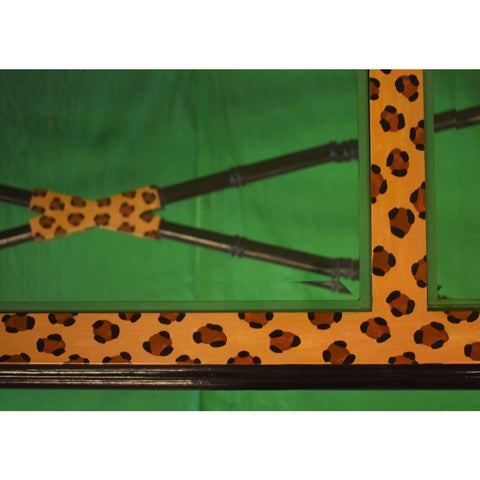 Hand-Painted Leopard Print Side Ebony Bamboo Table