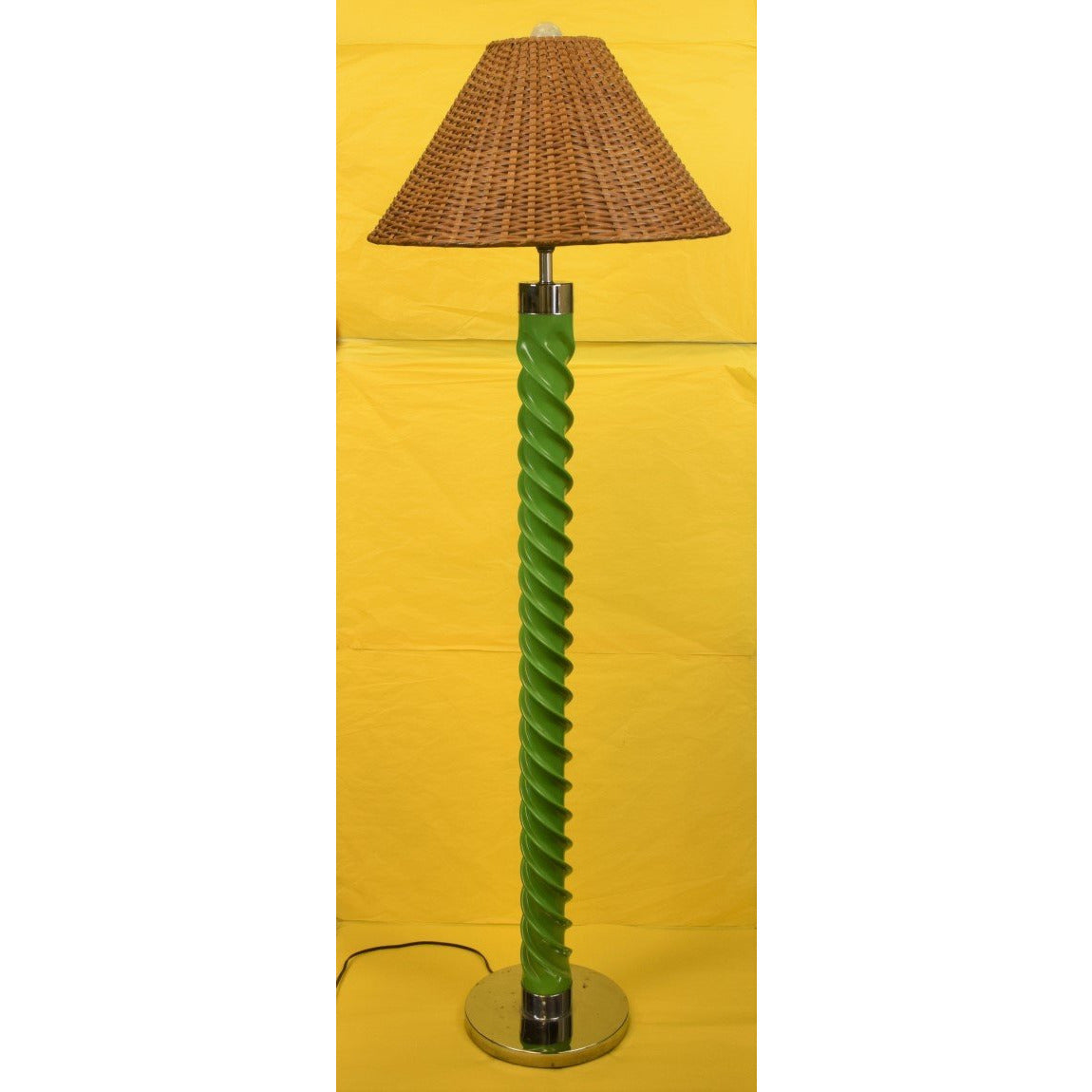 Green 'Rope Twist' Floor Lamp w/ Rattan Shade & Chrome Base