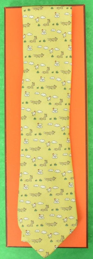 Hermes of Paris Fox & Hen Tie