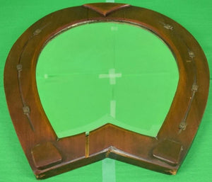 English Mahogany Horseshoe Bevelled Glass Mirror