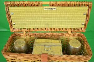 'Abercrombie & Fitch English Wicker Hamper w/ Hot & Cold Thermos & Sandwich Tin'