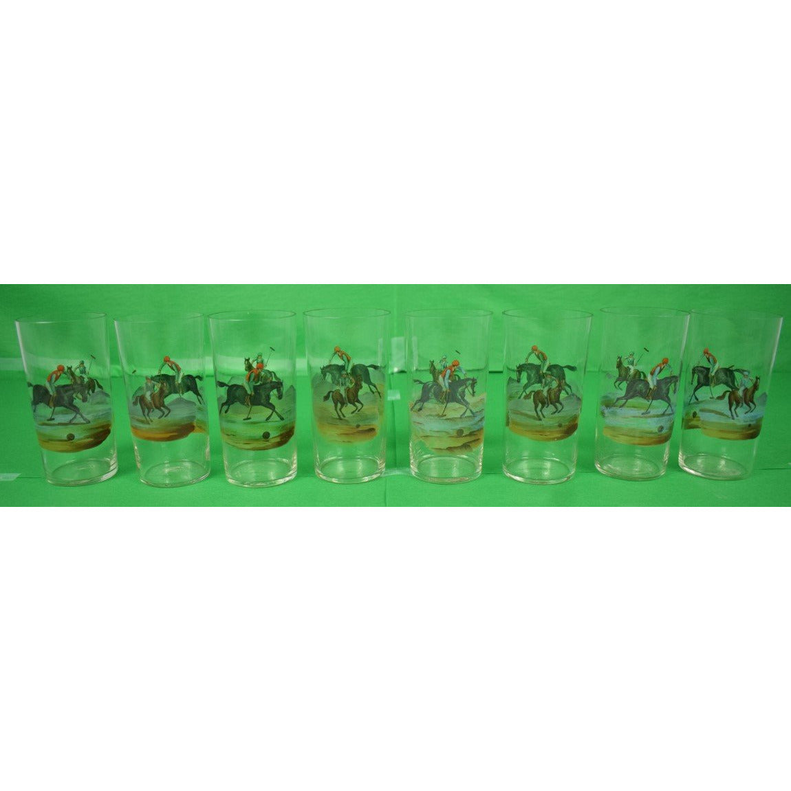 Set of 8 Hand-Painted Polo Player Highball Glasses