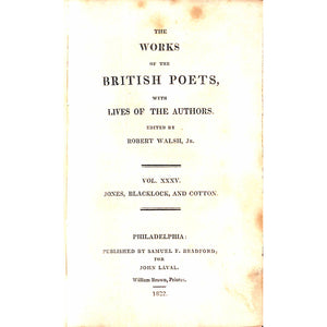 The Works of The British Poets, with Lives of The Authors. Vol. XXXV.