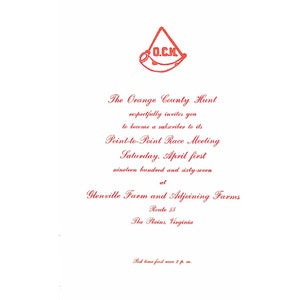 The Orange County Hunt Point-to-Point Race Meeting Invite Card