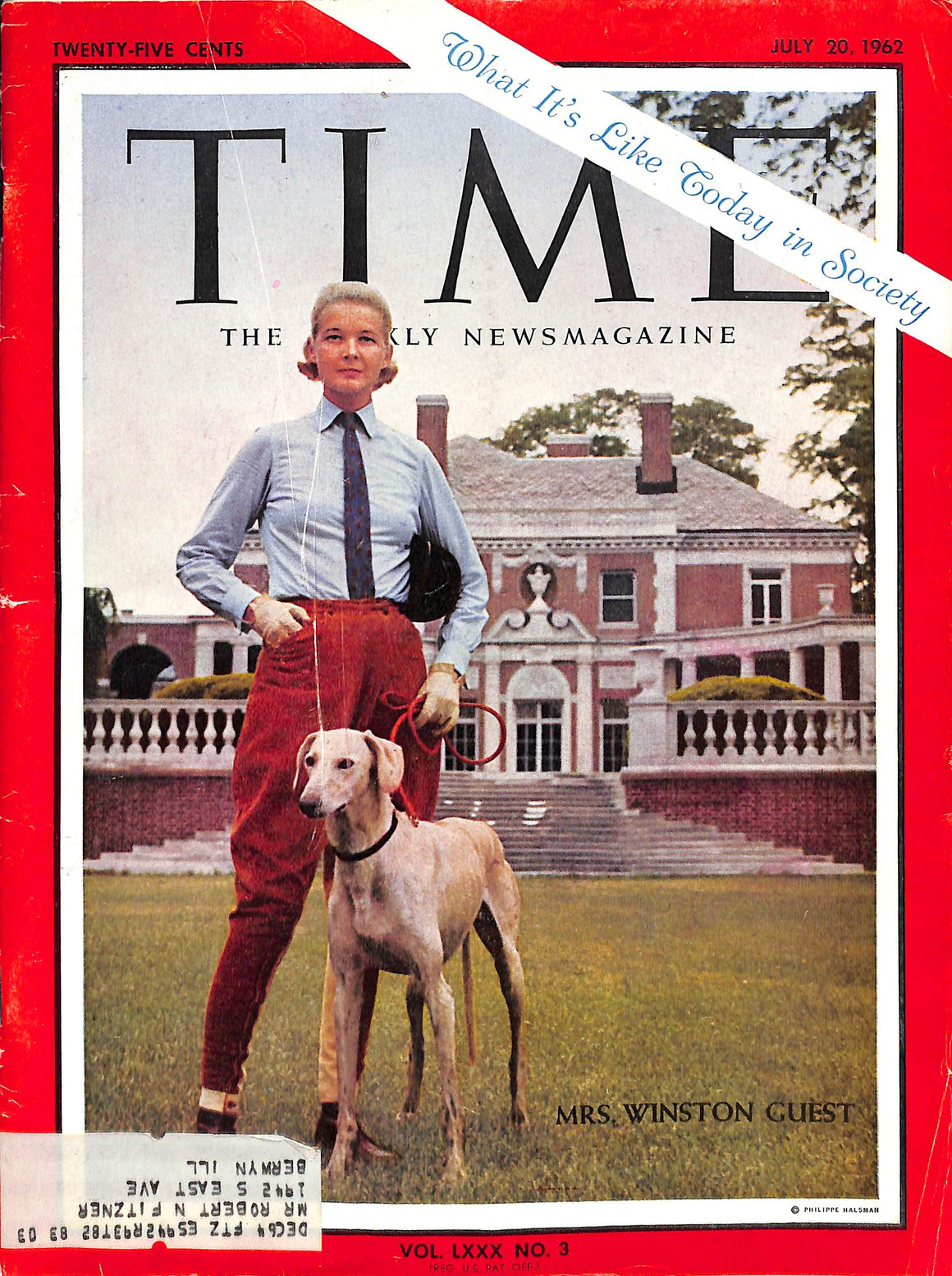 Time Magazine July 20, 1962 w/ Mrs Winston Guest on Cover