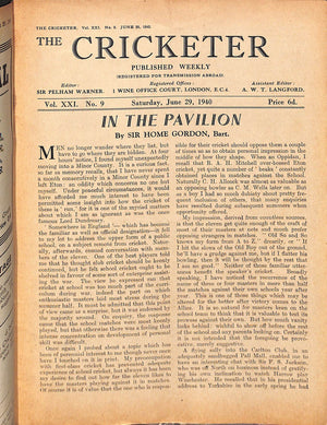 'The Cricketer- June 29, 1940'