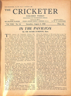 'The Cricketer - August 3, 1940'