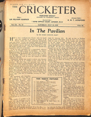 'The Cricketer - July 15th, 1939'