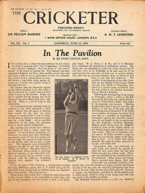 'The Cricketer - June 10th, 1939'