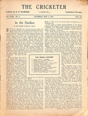 'The Cricketer - May 1, 1937: Pages 1-32'