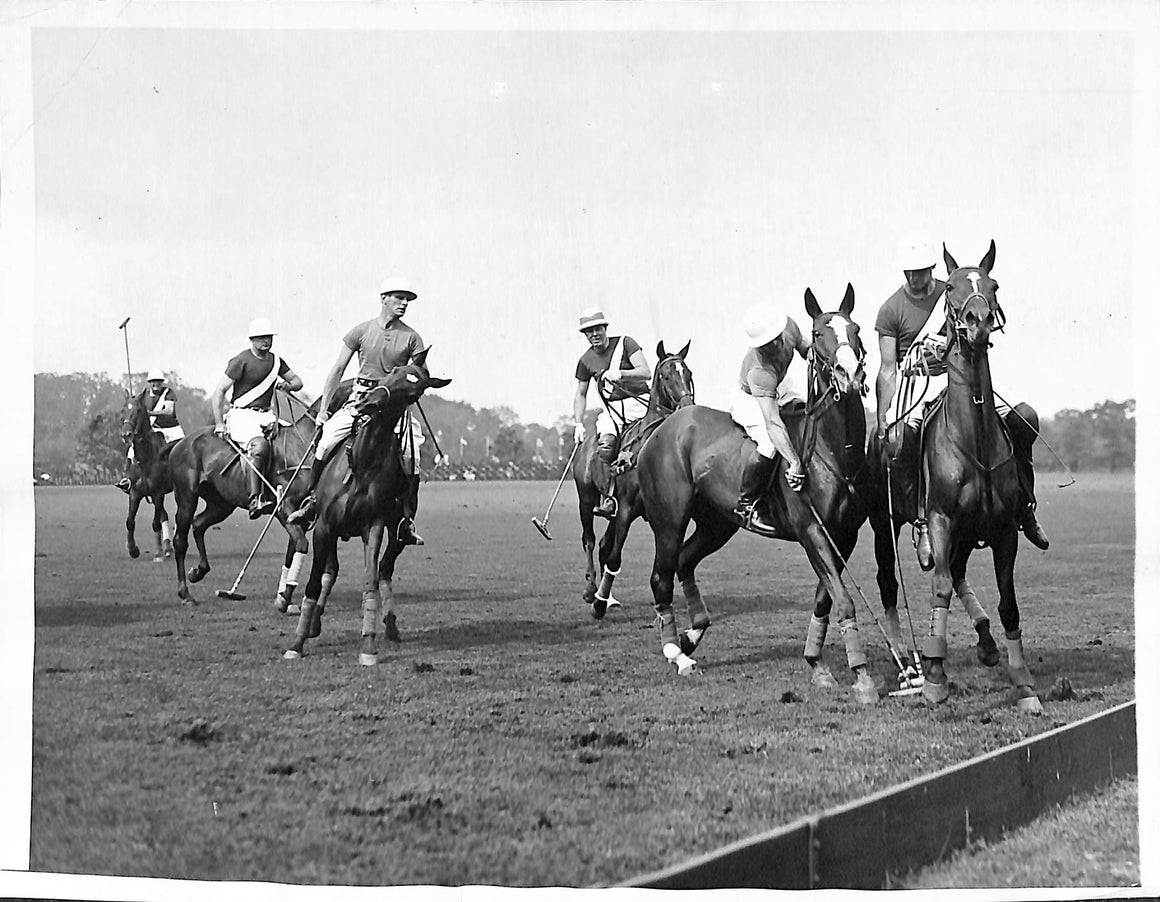 National Polo Tournament at Bostwick Field Westbury, Long Island 1935 B&W Photo