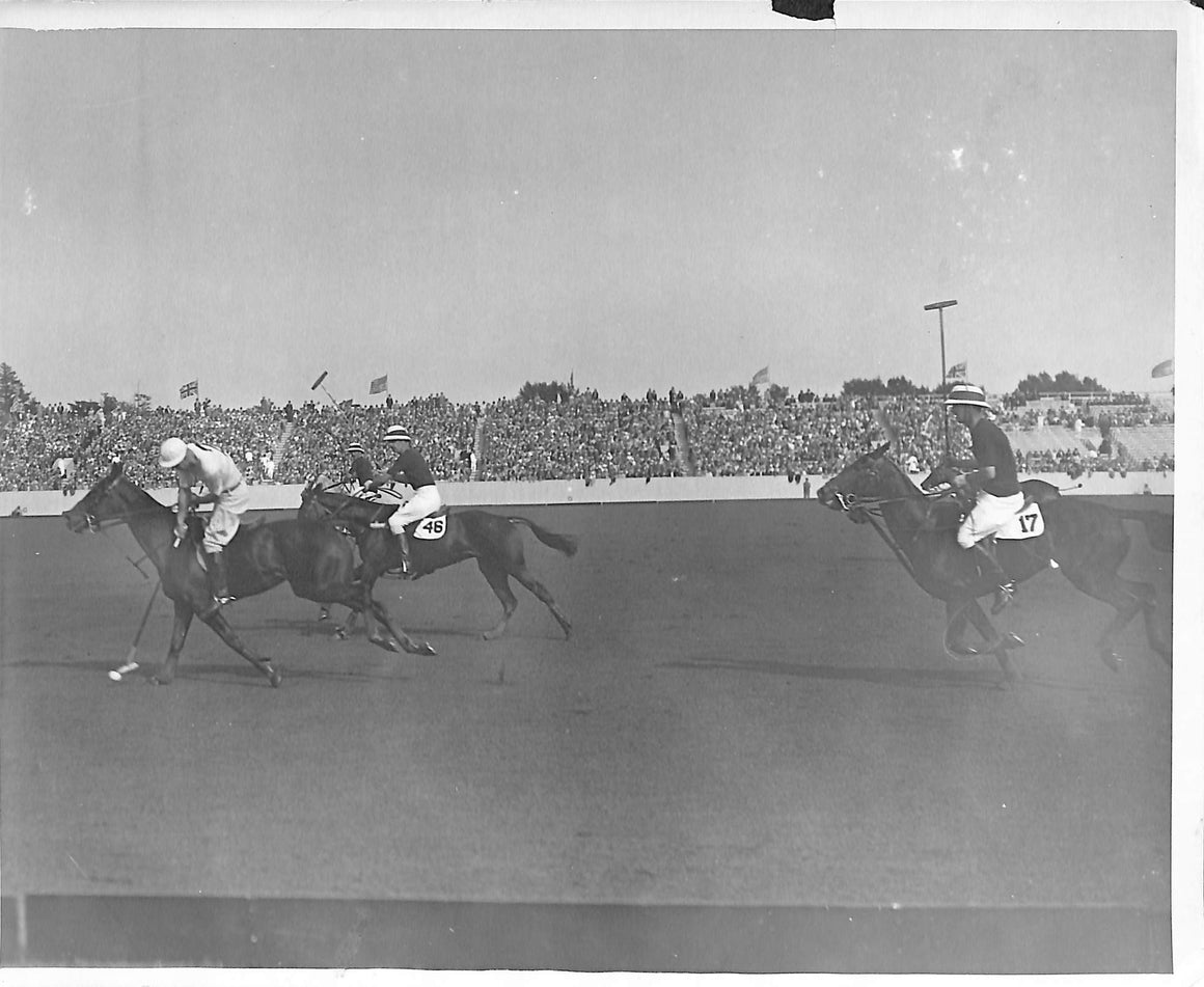 'Tommy Hitchcock 'Leading The Way at Meadow Brook' 1928 B&W Photo